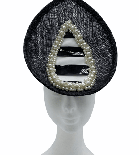 Black percher, white and black striped design finished with pearl detail.