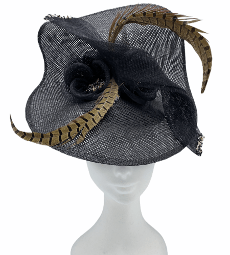 Large show stopper black front sitting disc percher with stunning black flower and feather detail to finish.
