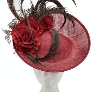 Medium size red headpiece with red flower detail finished with an array of wonderful feathers.
