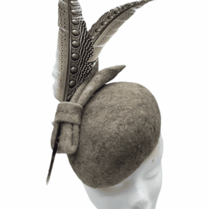 Grey felt teardrop headpiece with 2 stunning feathers to complement.