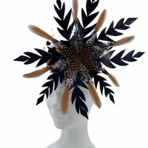 Orange base headpiece with structured circular formation in the colours of black and orange.