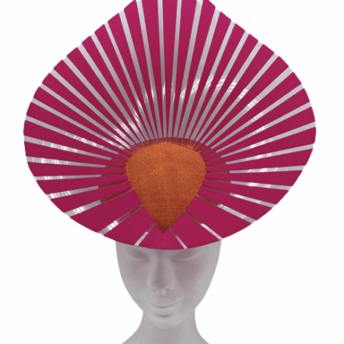 Stunning headpiece with orange sinamay base and pink/clear vinyl structure.