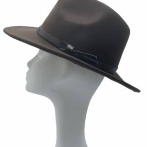 Brown felt fedora hat.