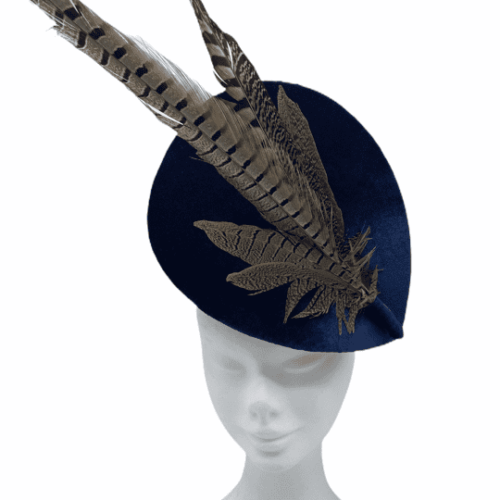 Navy velvet teardrop percher with beautiful feather detail.