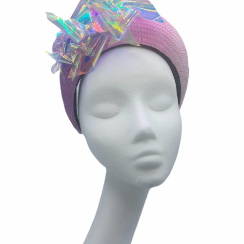 Pink and purple ombre effect crown with irridecent swirl detail.