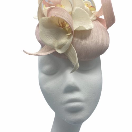 Pink/cream raw silk headpiece with swirl detail in both colours and finished with orchid petals.
