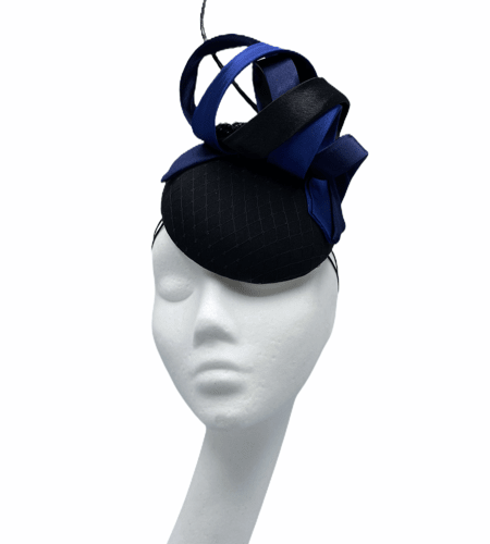 Black smartie hat (small base) with navy and black swirls, black spine.