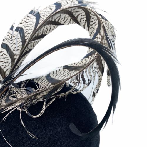 Black velvet based percher with black/white feather detailing.